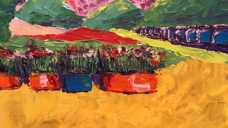 Цветы в горшках на фоне гор (2)