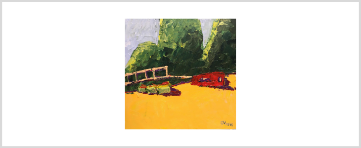 """Olga Volna  """"Turkish landscapes """" The red car on the beach"""