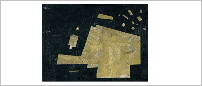 """Olga Volna """"Collages"""" Composition 16x12"""" Abstract small expressive black and gold"""