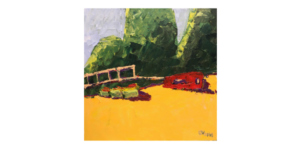 Turkish landscapes 2018.The red car on the beach.30*30